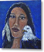 Onawa Native American Woman Of Wisdom Metal Print by The Art With A Heart By Charlotte Phillips