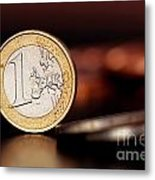 One Euro Coin Metal Print by Soultana Koleska