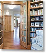 Open French Doors And Home Library Metal Print by Andersen Ross