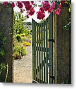 Open Garden Gate With Roses Metal Print by Elena Elisseeva