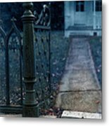 Open Iron Gate To Old House Metal Print by Jill Battaglia