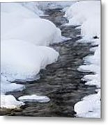 Open Running Creek With Snow Covered Metal Print by Michael Interisano