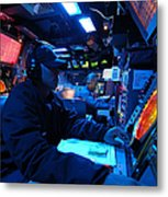 Operations Specialist Stands Watch Metal Print by Stocktrek Images