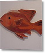 Orange Fish Metal Print by Val Oconnor