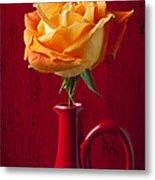 Orange Rose In Red Pitcher Metal Print by Garry Gay
