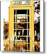 Orange Telephone Booth In The Field Metal Print by Kara Ray