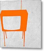 Orange Tv Metal Print by Naxart Studio