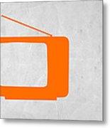 Orange Tv Vintage Metal Print by Naxart Studio