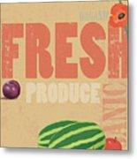 Organic Fresh Produce Poster Illustration Metal Print by Don Bishop
