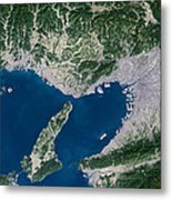 Osaka, Satellite Image Metal Print by Planetobserver