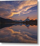 Ox Bow Bend Sunset Metal Print by Joseph Rossbach