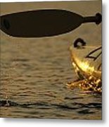 Paddling A Kayak Over Walden Pond Metal Print by Tim Laman