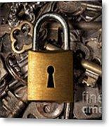 Padlock Over Keys Metal Print by Carlos Caetano
