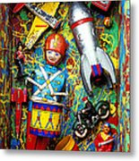 Painted Box Full Of Old Toys Metal Print by Garry Gay