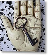 Palm Reading Hand And Key Metal Print by Garry Gay