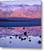 Panamint Range Reflected In Standing Metal Print by Tim Fitzharris