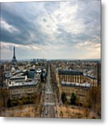 Paris And Eiffel Tower At Sunset Metal Print by Philipp Kern