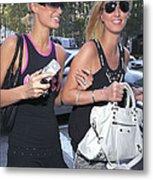Paris Hilton, Nikki Hilton Carrying Metal Print by Everett