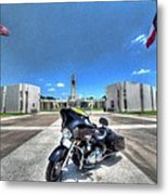 Patriot Guard Rider At The Houston National Cemetery Metal Print by David Morefield
