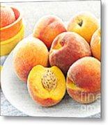 Peaches On Plate Metal Print by Elena Elisseeva