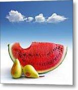 Pears And Melon Metal Print by Carlos Caetano