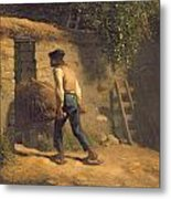 Peasant With A Wheelbarrow Metal Print by Jean-Francois Millet