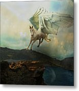 Pegasus Flying Horse Metal Print by Patricia Ridlon