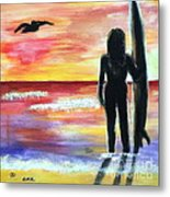 Pelican And The Surfer Girl Metal Print by Diane Wigstone