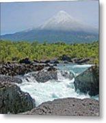 Petrohue Falls And Osorno Volcano Metal Print by Pcontreras