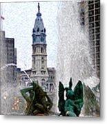 Philadelphia Fountain Metal Print by Bill Cannon