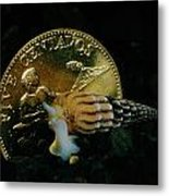 Philippine Gold Coin With Turret Shell Metal Print by Paul Zahl