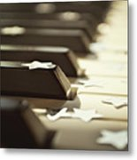 Piano Keys And Stars Metal Print by Photo - Lyn Randle