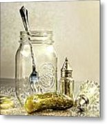 Pickle With A Jar And Antique Salt And Pepper Shakers Metal Print by Sandra Cunningham