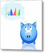 Piggy Bank With Graph Metal Print by Setsiri Silapasuwanchai
