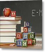 Pile Of Books With Wooden Blocks Metal Print by Sandra Cunningham