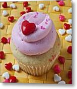 Pink Cupcake With Candy Hearts Metal Print by Garry Gay