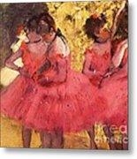 Pink Dancers Before Ballet Metal Print by Pg Reproductions
