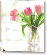 Pink Glass Vase Of Pink Tulips In Window Metal Print by Jessica Holden Photography