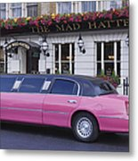 Pink Limo Outside A Pub Metal Print by Jeremy Woodhouse