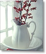 Pitcher With Red Berries  Metal Print by Garry Gay