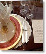 Place Setting Of The White House China Metal Print by Everett