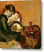 Polishing Pans  Metal Print by Marianne Stokes