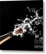 Popping Champagne Cork Metal Print by Gualtiero Boffi