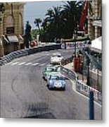 Porsches At Monte Carlo Casino Square Metal Print by John Bowers