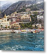 Positano Seaside View Metal Print by George Oze