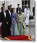 President And Laura Bush Welcome Ghanas Metal Print by Everett
