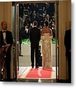 President And Michelle Obama Face Metal Print by Everett