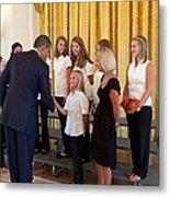 President Barack Obama Greets The 2009 Metal Print by Everett