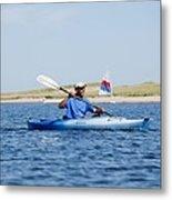 President Barack Obama Kayaks While Metal Print by Everett