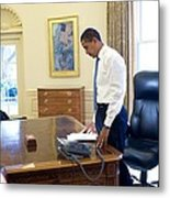 President Barack Obama On His First Metal Print by Everett